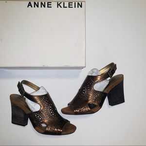 Anne Klein Briella Leather Sandals in bronze